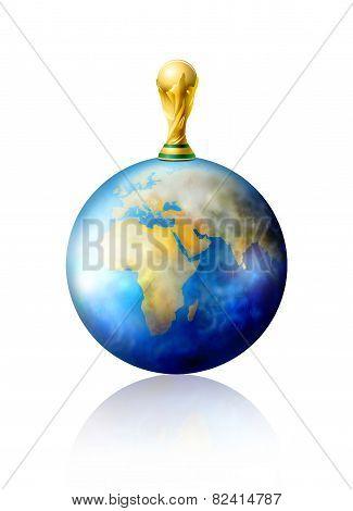 Golden soccer trophy on plannet