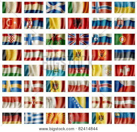 European waving flags