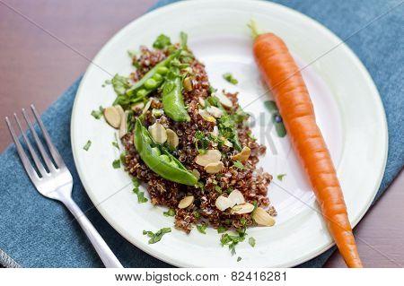 Red Quinoa With Sugar Snap Peas