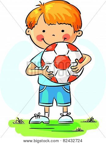 Little boy with football ball