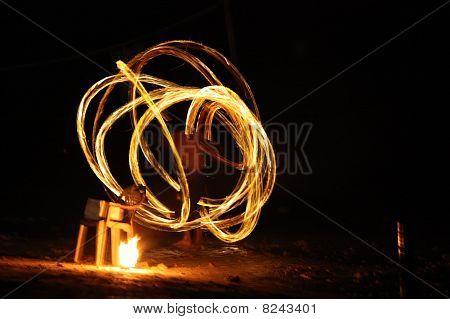 Fire Dancer At Night
