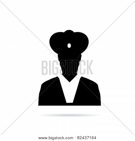 Man Chief Icon Black Vector