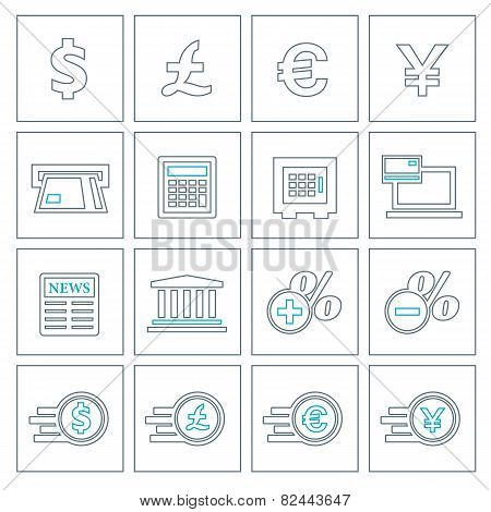 Financial And Money Thin Line Icons Set