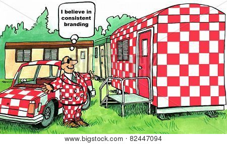 Cartoon of businessman who believes in consistent branding, everything is checkerboard red. poster
