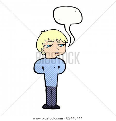 cartoon antisocial boy with speech bubble