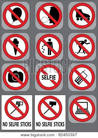 12 prohibition signs vector set