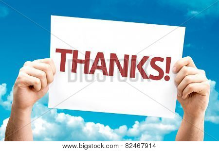 Thanks! card with sky background