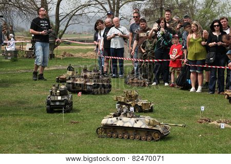 ORECHOV, CZECH REPUBLIC - APRIL 27, 2013: Scale models attend the re-enactment of the Battle of the Bulge (1944) in Orechov near Brno, Czech Republic. .