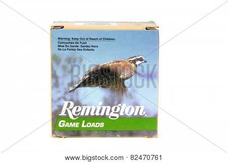Hayward, CA - February 3, 2015: Box of Remington Game Loads - 16 Gauge shotshells in 7.5 shot -illustrative editorial