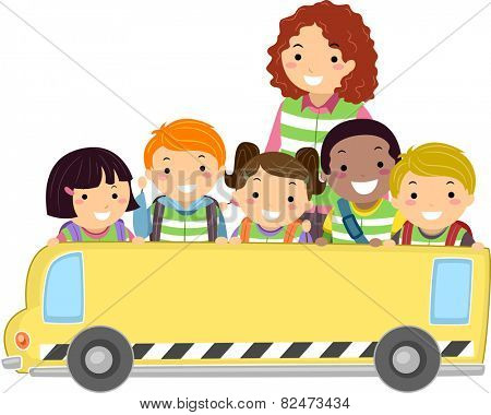 Illustration of Kids and Their Teacher Holding a Banner in the Shape of a Bus
