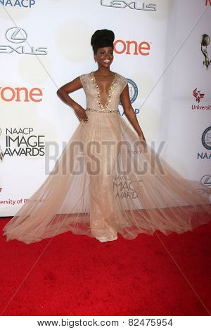 LOS ANGELES - FEB 6:  Teyonah Parris at the 46th NAACP Image Awards Arrivals at a Pasadena Convention Center on February 6, 2015 in Pasadena, CA