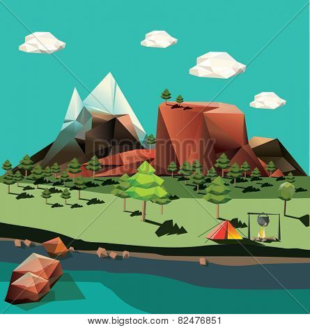 Vector landscape in low-polygonal style
