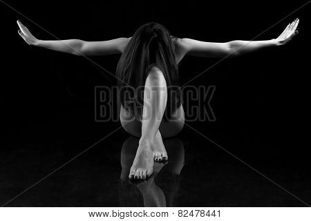 Black And White Photo Woman With Open Hands