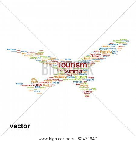 Vector concept or conceptual colorful plane silhouette travel tourism text word cloud tagcloud isolated on background, metaphor to vacation, family, summer, transport, fun, leisure, worldwide cruise