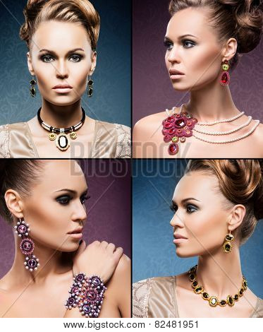 Beautiful woman in a precious necklaces, earrings and bracelet. Jewelry collection. poster