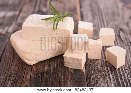 fresh tofu on table