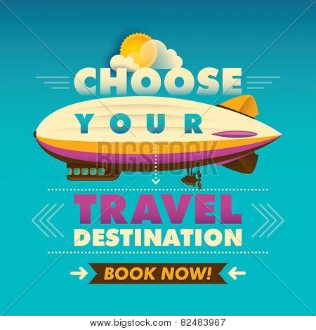 Travel background with zeppelin. Vector illustration.