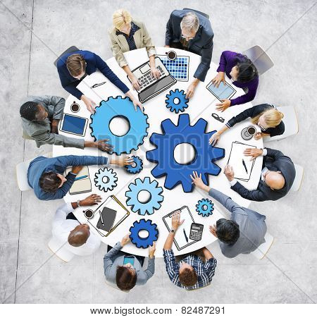 Group of Business People in Meeting Photo and Illustration