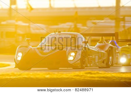 Daytona Beach, FL - Jan 25, 2015:  The RG Racing Riley DP races through the turns at Rolex 24 at Daytona International Speedway in Daytona Beach, FL.