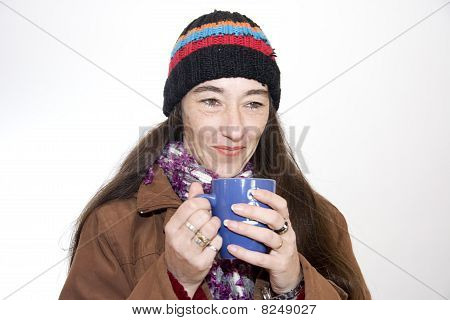 Woman Drinking  A Tea