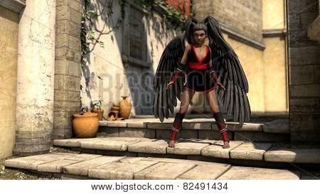 african girl as dark angel at mediterranian scene