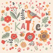 Bright card with beautiful name Katie in poppy flowers, bees and butterflies. Awesome female name design in bright colors. Tremendous vector background for fabulous designs poster