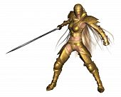 3d Digitally rendered illustration of a female fantasy warrior wearing golden armour, in a fighting pose poster