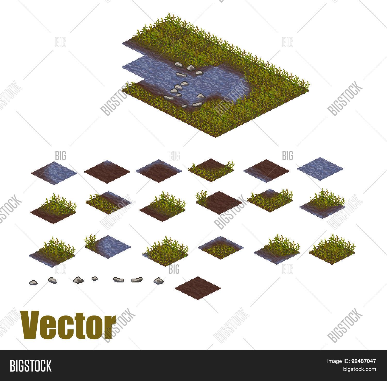 Pixel Art River Vector & Photo (Free Trial) | Bigstock