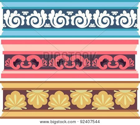 Border Illustration of Cornices with Elaborate Designs