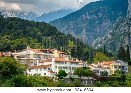 Small town of Litohoro near Mount Olympus in Greece