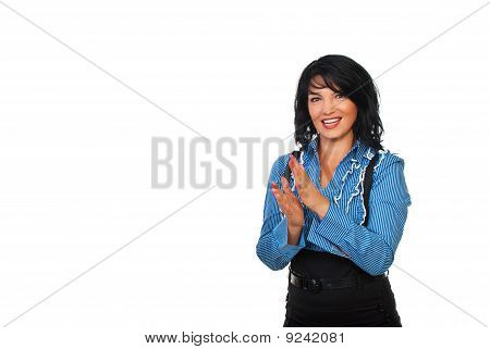 Happy Business Woman Applauding