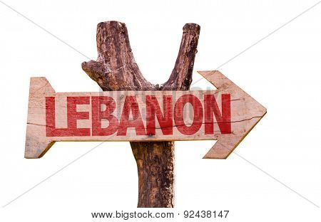 Lebanon wooden sign isolated on white background