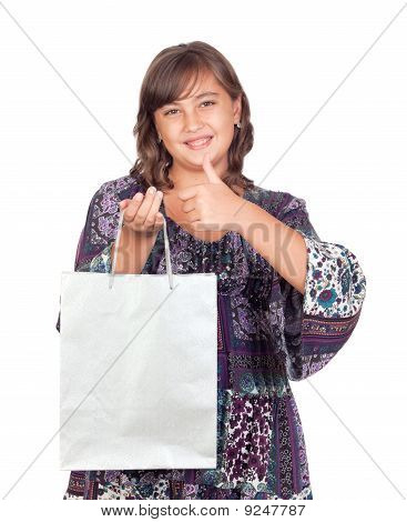 Adorable Preteen Girl Shopping Saying Ok