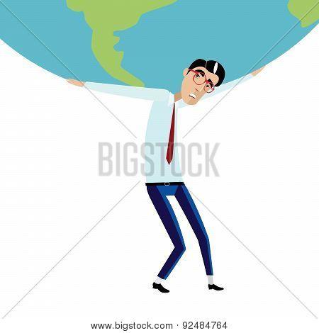 Businessman holding big globe overhead