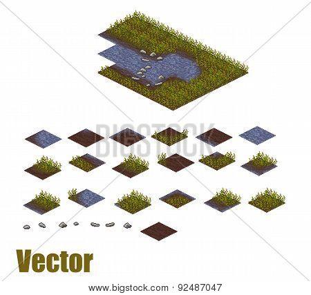 Pixel art river tilesets. Water, grass and land tiles. Vector game assets