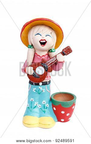 girl doll playing the guitar doll made from baked clay in Thailand poster