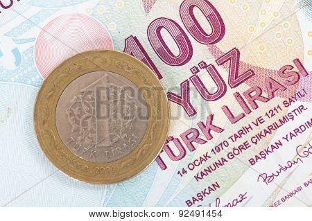 Turkish Lira Coin On Banknote
