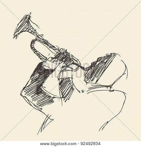 JAZZ Man Playing the Trumpet  Hand Drawn, Sketch