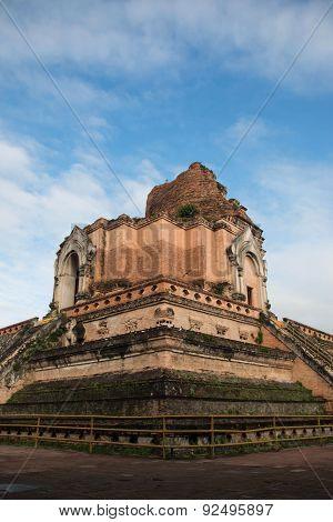 Ancient Pagoda build from brick at Wat Chedi Luang in Chiang Mai Thailand. , wat chedi luang in chaing mai thailand , Old temple in Chang-mai, Thailand poster