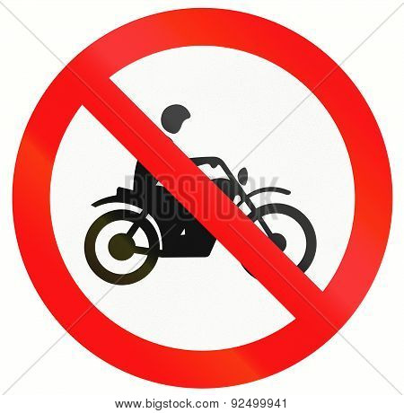 An Indonesia sign prohibiting thoroughfare for motorcycles. poster