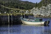 A small fishing boat tied up at the wharf in rural Newfoundland, Canada. poster