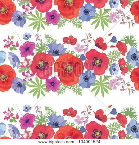 Seamless Vector Floral Pattern with Poppies , Anemones, Petunia and Fuchsia . Summer Fashion Ornament for Fabric and Wrapping Paper.