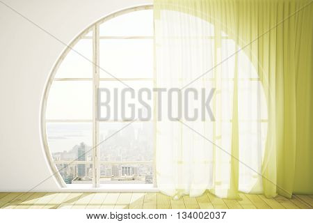 Creative interior design with round window wooden floor and bright yellow curtains. 3D Rendering