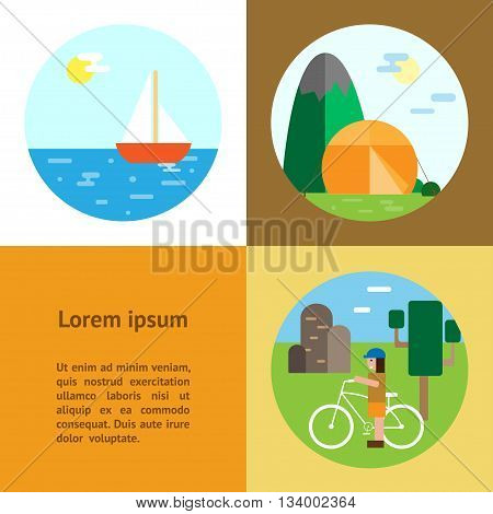 Eco-tourism. 3 type of eco rest - camping cycle tourism sailing Eco flat vertical banners vector illustrations. Can be used for blogs websites flyers etc.