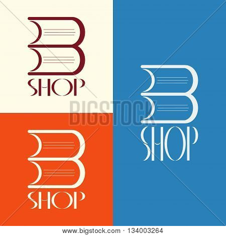 Vector book shop logo. Book shop emblem. Book shop display window element
