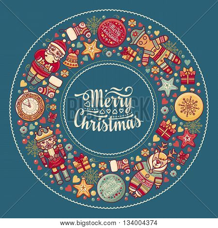 Merry Christmas wreath with Christmas toys. Balls, Santa Claus. Nutcracker, Snowman, socks, gift box. Christmas tree, clock, Reindeer. Colorful round frame for greeting card in the winter holiday. New Year vector image