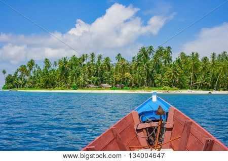 Boat trip to remote tropical island Banyak islands Aceh Indonesia Southeast Asia