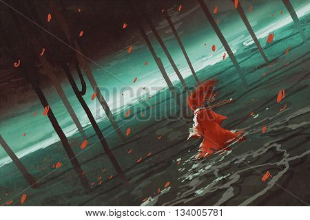 woman in red walking on swamp lake, river, trees, scenery, llustration