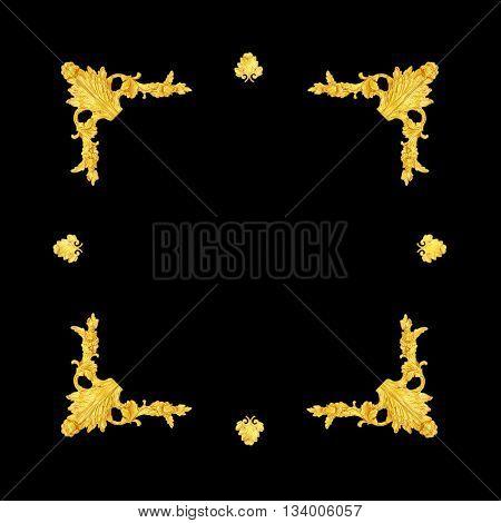 old antique gold frame Stucco walls greek culture roman vintage style pattern line design for border isolated on black background