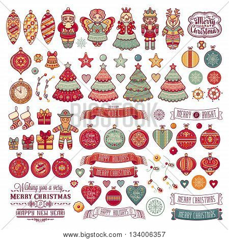 Merry Christmas toys. Christmas and New Year background. Balls, Santa Claus, socks, gift box. Christmas tree, Reindeer. Holiday text lettering.